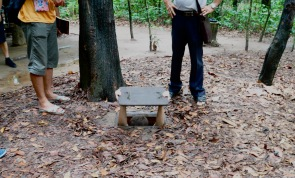 Dave inside a shooting hole at Cu Chi tunnels