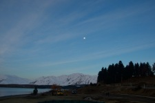 Moon at lake tekapo