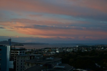Sunset from our balcony in Auckland