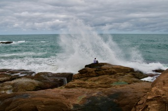 Crazy man and the waves