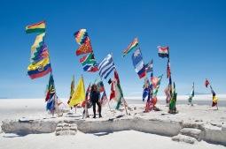 Salar de Uyuni flags