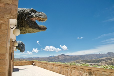 T-rex overlooking the mountains