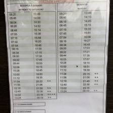 Bus timetable from Foz do Iguazu (Brazil) to the falls
