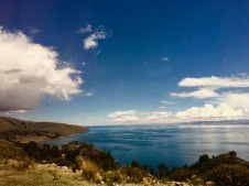 View from the bus of lake Titicaca