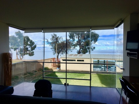 View of lake Titicaca from our hotel in Copacabana