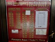 Bus timetable from Puerto Iguacu, Argentina to Brazil and Paraguay