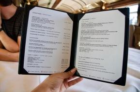 Gourmet train menu
