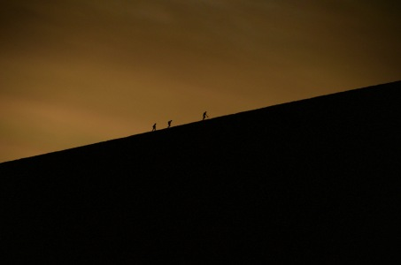 Climbers for sunset