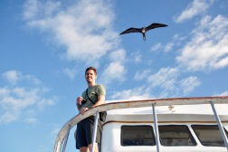 Dave with a frigate bird circling