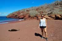 Sophie on the red beach of Rabida