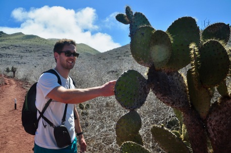 Dave touching the soft spikes of the cactus