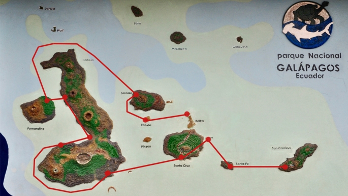Sailing route around the Galapagos